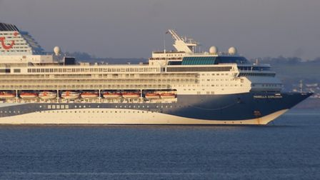 One of the TUI cruise ships in the Bay
