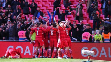 Hornchurch players celebrating their second goal during Hereford FC vs Hornchurch, Buildbase FA Trop