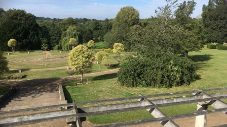 A view of Wensum Park, off Drayton Road in Norwich, from the top of the shelter. Picture: Sophie Wyl
