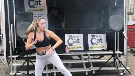 Fitness instructor Carly Harvey held a zumba demonstration at the food festival.