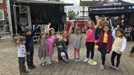 Carly Harvey entertained at the St Neots Food Festival with a zumba class.