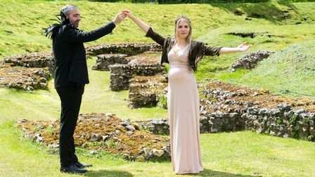 Adam Nichols as Leontes andLucy Crick as Hermione in the Roman Theatre Open Air Festival's production ofA Winter's Tale.