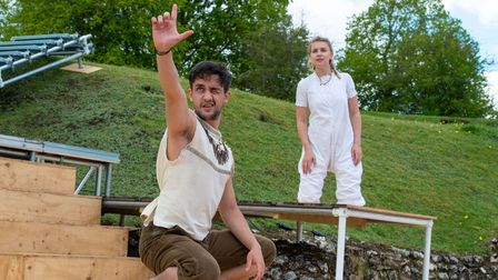 Felipe Pacheco as Peter Pan and Flora Squires as Wendy in Peter Pan at the Roman Theatre.