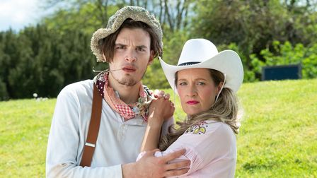Will Pattle and Emma Wright as shepherds in A Winter's Tale at theRoman Theatre.
