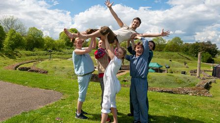 The cast of Peter Pan rehearsing forthe Roman Theatre Open Air Festival in St Albans.