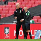 Mark Stimson yells at his Hornchurch players during the FA Trophy final at Wembley