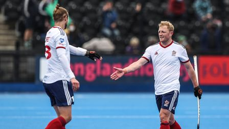 Great Britain's Rupert Shipperley (right) and Brendan Creed (left) celebrate after beating Spain in the FIH Pro League