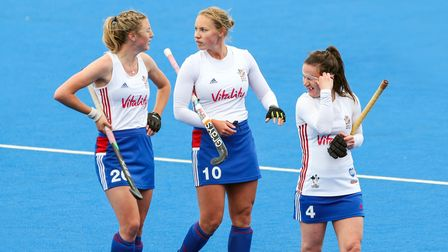 Great Britain's Lily Owsley (left), Sarah Robertson (centre) and Laura Unsworth (right) after beating the USA