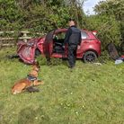 Car crash in field off M5 between Weston and Clevedon