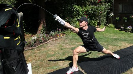Team GB fencer Marcus Mepstead during a training session at his home in London, following the outbre