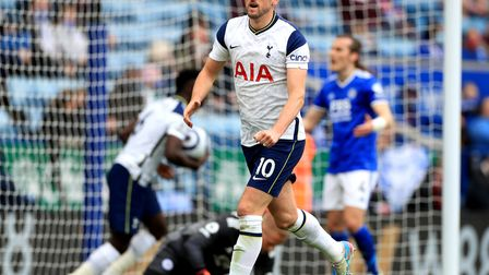 Tottenham Hotspur's Harry Kane celebrates scoring their side's first goal of the game during the Pre