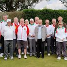 Players from WGC and Parkside bowls clubs with Peter Waine and Eric Walsby of WGC100