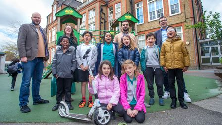 Mayor of Hackney and Cllr Mete Coban at with Gayhurst School students and staff.