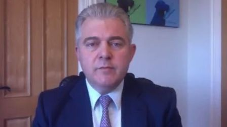 Brandon Lewis speaks from Great Yarmouth on developments during the coronavirus outbreak. Photograph