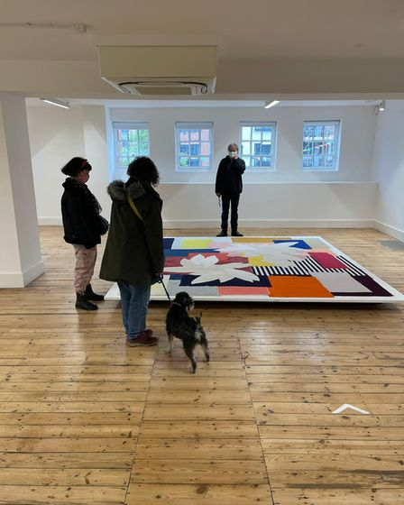 Visitors admiring Fiona Curran's Jump Cut, Still Life exhibition atthe Broadway Gallery in Letchworth
