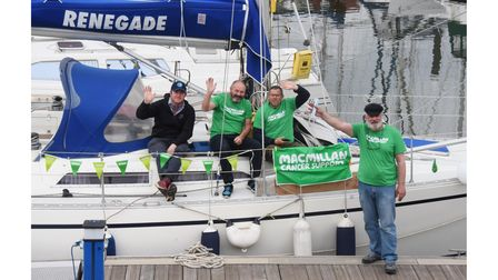 Ipswich cancer patient Olle Nash, right, ready to set off to sail around Britain in aid of Macmillan