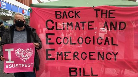 Leader of St Albans district council Cllr Chris White outside the Climate and Ecological Emergency stall.