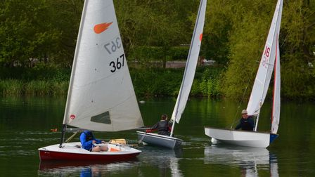 Alex Shelley leads Charles Adams and Annette Walter of WGC Sailing Club
