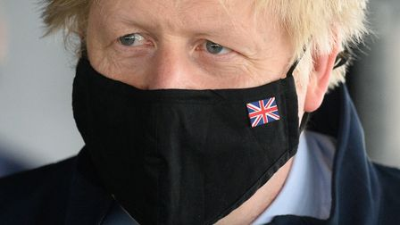 Prime Minister Boris Johnson, during a visit aboard HMS Queen Elizabeth in Portsmouth ahead of its f