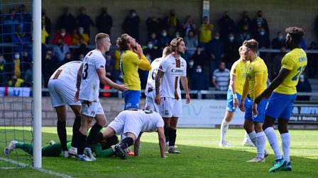 Adam Parkes, Goalkeeper of Barnet saves in the dying seconds to deny Torquay United the win with a d