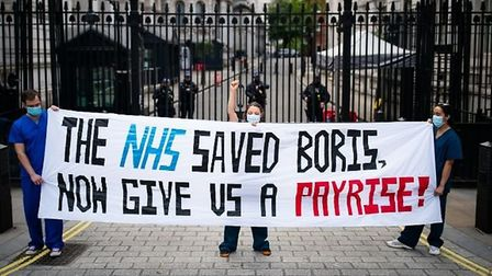 Nurses from central London hospitals protest about the chronic underfunding of the NHS and other iss