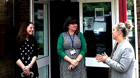 Bassingbourn Primary School headteacherMrs Rachael Schofield and Vicky Tyas, acting headteacher,with Lucille Shears