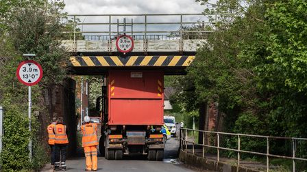 A lorry has got stuck under the bridge in Ship Lane, Bramford. Picture: Sarah Lucy Brown