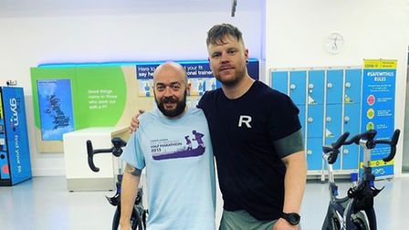 Sam Gandy and Ben Bell are pictured after completing their 68 mile challenge in aid of Mind