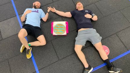 Exhaustion for the two men after completing their epic challenge in aid of Mind
