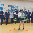 Research nurse Carina Cruz hula hooping at Lister Hospital in Stevenage to raise money for the East and North Herts NHS Trust