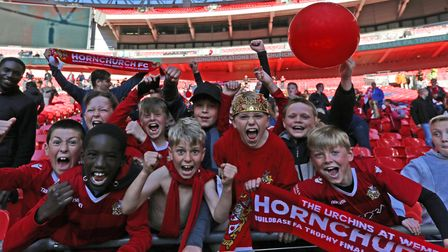 Hornchurch fans celebrating their FA Trophy final win over Hereford