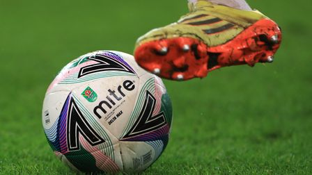 A general view of a Mitre match ball during the Carabao Cup quarter-final match at the bet365 Stadiu