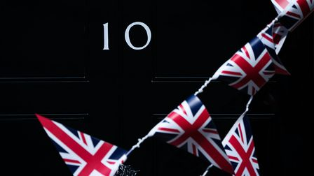 Union flag bunting in front of No 10 Downing street. Photograph: Aaron Chown/PA.