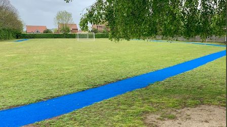 The new running track that has been installed at Reydon Primary School.