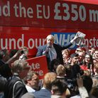 Boris Johnson during the Brexit Battle Bus tour during the EU referendum