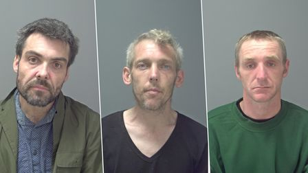 L- R:William Hutchinson,Daniel Tovey andGlynn Davis who have all been jailed