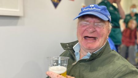Edgar Stone, 78, who has been a resident at Woodside House Care Home enjoying a pint of beer in the new Junction Bar.