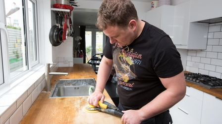 Sand your wooden kitchen worktops before oiling.