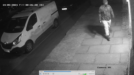 CCTV images of a man suspected of spraying a swastika on a Norwich synagogue