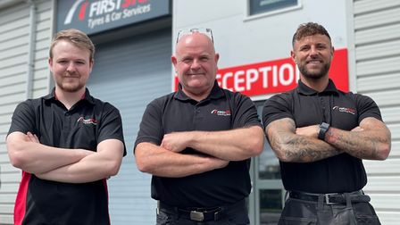 Ethan Hammond, Paul Rogers and manager Dan Radford of First Stop in Weston.
