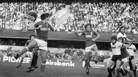 Ipswich Town defenders Terry Butcher, left, and Russell Osman, right, on the attack