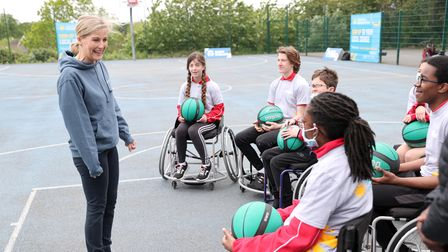 LONDON, ENGLAND - MAY 20: HRH Sophie, The Countess of Wessex speaks with young players during a medi