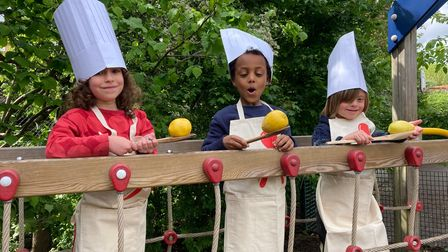 Children at the school's egg and spoon race