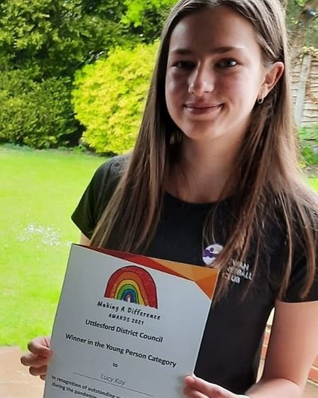 Lucy Kay won the Young Person category for Uttlesford District Council's Making A Difference Awards 2021