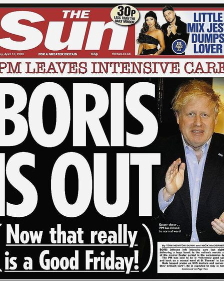 The Sun's coverage of Boris Johnson's discharge from hospital. Photo: The Sun