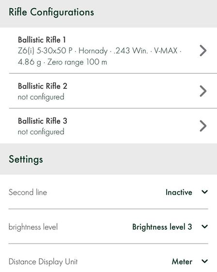 Clear App layout, although only Swarovski Scope names with no blank options. Hopefully an update is