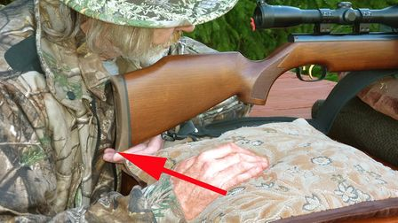 When accuracy testing from the bench, I use my left hand to support the underside of the stock near