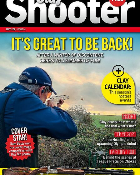 When is the May issue of Clay Shooter magazine one sale?