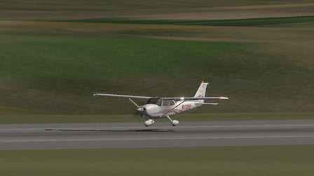 The crippled Cessna 172 about to touch down on Runway 35 at Boscombe Down