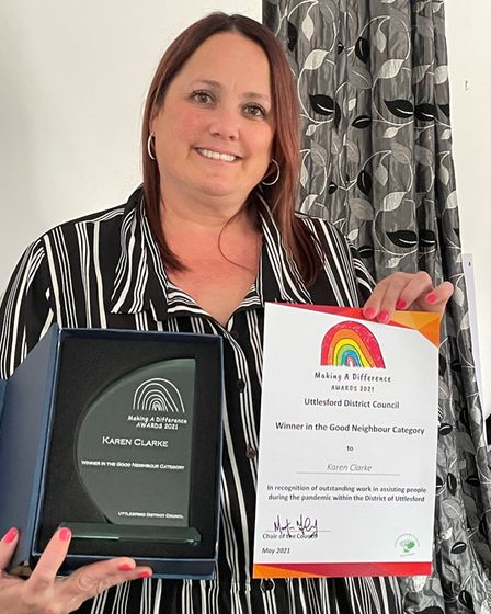 Karen Clarke of Barnston near Great Dunmow won Uttlesford District Council's Making a Difference Award 2021